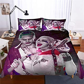 ROMOO 3D Suicide Squad Joker with Harley Quinn Pattern Duvet Cover Set Microfiber 3 Piece Bedding Set (1 Duvet Cover 2 Pillowcases), Queen