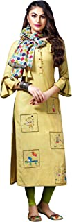 Ladyline Designer Kurtis Tunic with Scarf Embroidered Party wear Indian Kurta Kurti for Womens