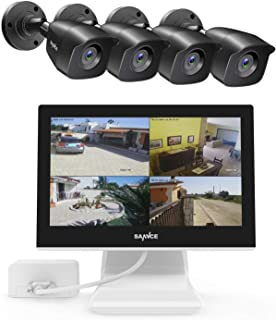 """SANNCE1080P 4-Channel 10.1"""" LCD Monitor Security Camera System with (4) 1080P Cameras, IP66 Weatherproof Night Vision Remo..."""