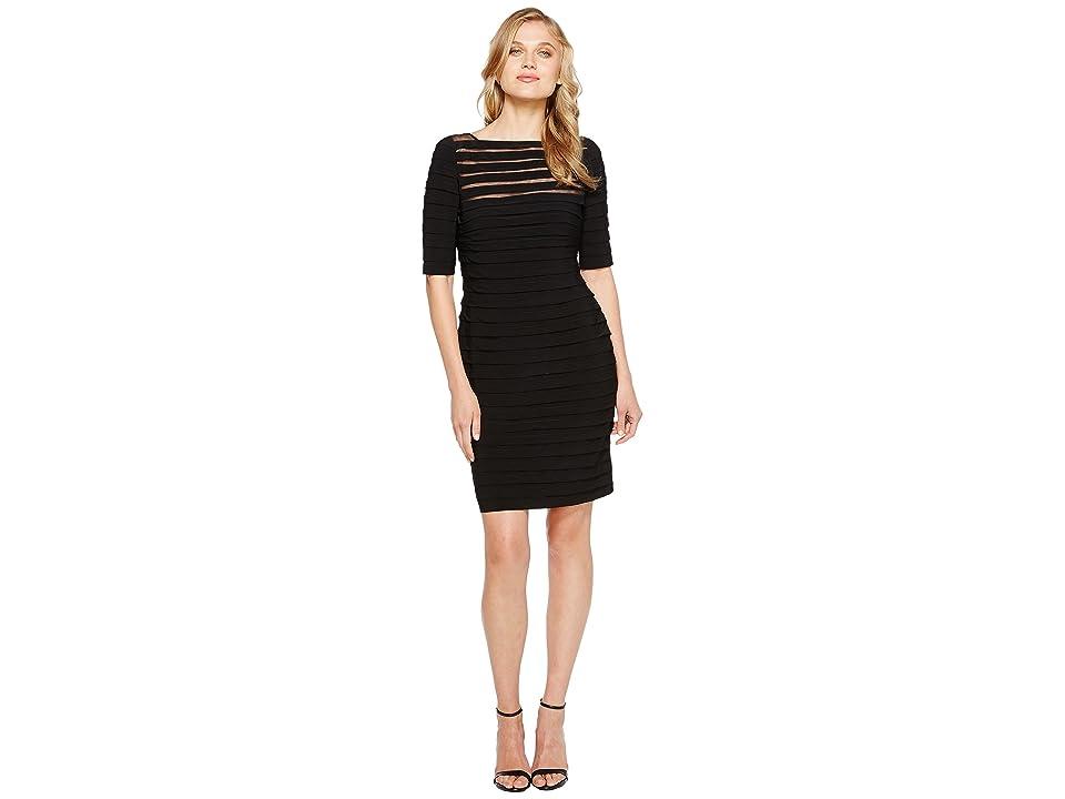 Adrianna Papell Partial Tuck Long Sleeve Dress (Black) Women