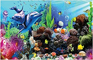 Libaoge Fish Tank Background The Underwater World Aquarium Backdrop Sticker Wallpaper Decoration PVC Adhesive Decor Paper Cling Decals Poster 24