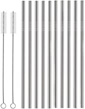 Set of 10 Stainless Steel Straws, HuaQi Straight Reusable Drinking Straws 10.5'' Long 0.24'' Dia for 30 oz Tumbler and 20 ...