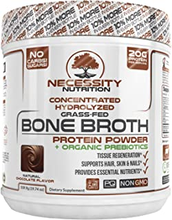 Beef Bone Broth Chocolate Protein Powder - Natural & Pure | Paleo & Keto Friendly | Gluten Free, Low Carb & Non GMO Grass ...