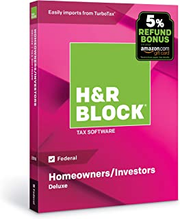 [OLD VERSION] H&R Block Tax Software Deluxe 2018 (Federal Only) with 5% Refund Bonus Offer [Amazon Exclusive] [PC/Mac Disc]