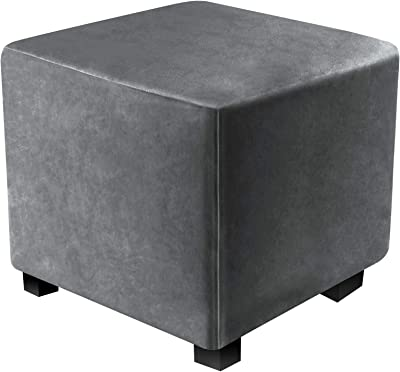 "DUJUIKE Ottoman Covers Slipcover Velvet Square Ottoman Covers Protector for Footrest Foot Stool Furniture Stretch Comfortable Velvet with Elastic Bottom (Length & Width:27-32"", Height:15-18"", Grey)"