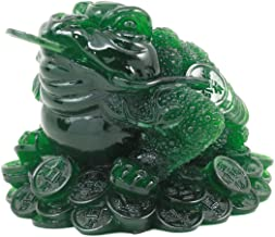 Ebros Acrylic Jade Green Resin Feng Shui Jin Chan Fortune Money Frog Statue Talisman Lucky Toad Figurine Charm Sculpture Decor