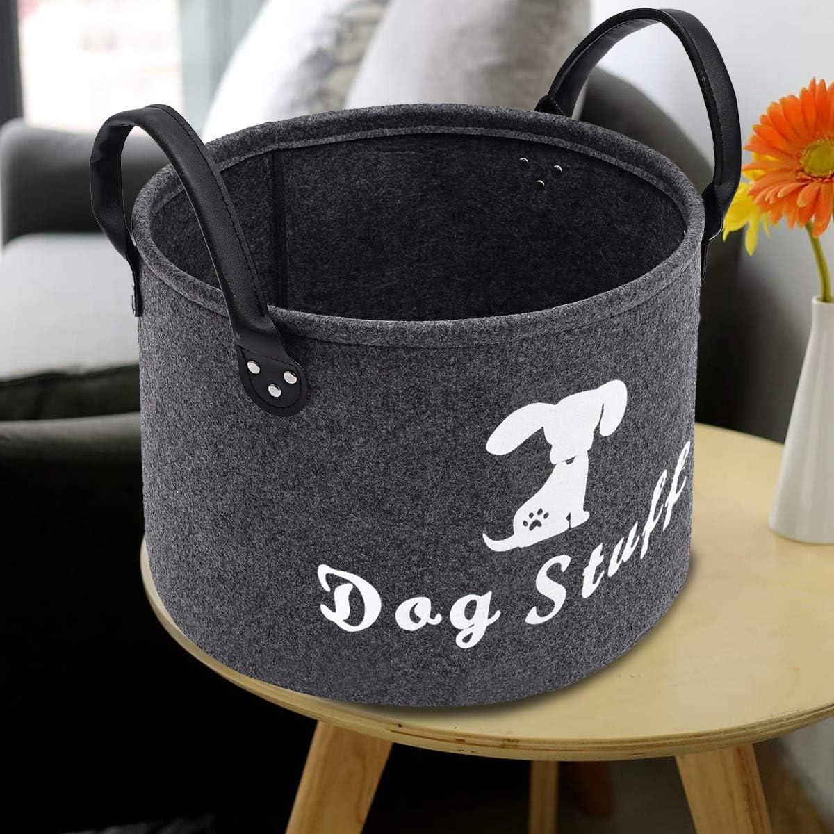 Collapsible Convenient Organizer Basket cat stuff, dark gary Space-Saving Box for Organizing Pet Chew Toys Blankets leashes ECOSCO Round Felt Pet Dog Cat Toy Storage