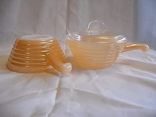 2 PIECE SET - Vintage Anchor Hocking Fire-King Glass Peach Luster Handled 5 x 2 1/2 Inch Soup Bowl Crocks USA