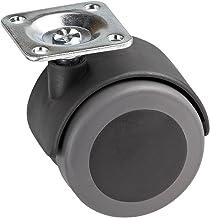Metafranc Dubbele rol Ø 50 mm - 38 x 38 mm plaat - TPR-wiel - zacht loopvlak - glijlagers - 50 kg draagkracht/transportro...