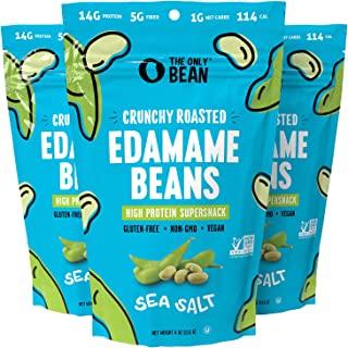 The Only Bean - Crunchy Roasted Edamame Beans (Sea Salt) - Keto Snacks (1g Net) - High Protein Healthy Snacks (14g Protein...