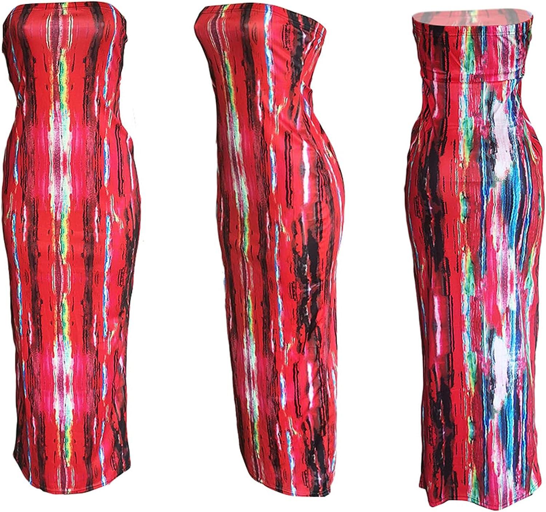 Women's Sexy Long Dress Summer - Tie Dye Tube Top Bodycon Sleeveless Pencil Maxi Long Dress