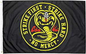 WYFGL 3×5 Ft Cobra Kai Strike First Karate Kid Flag The Karate Kid with Brass Grommets 100D Double Stitched Banner Decor