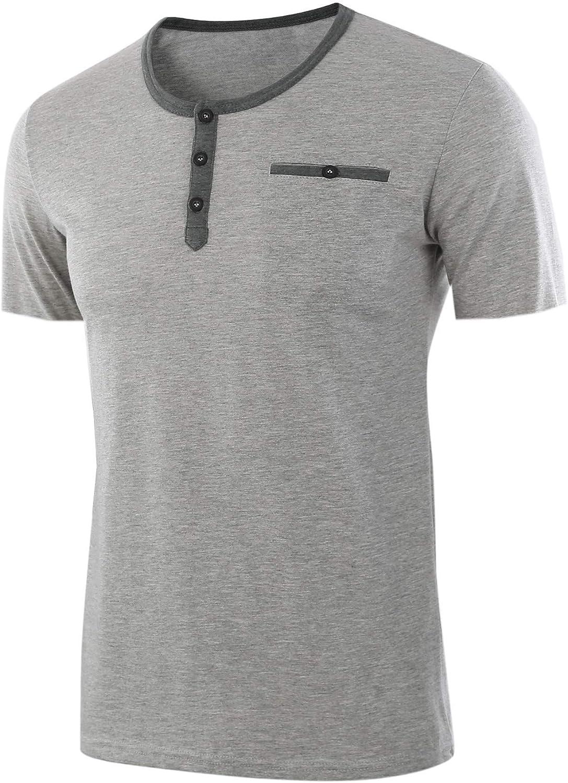 Satankud Men's Henley Shirts Short Sleeve Casual Slim Fit T-Shirts with Pocket