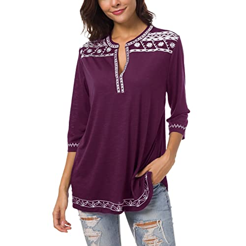 a3d6a76dd2 Women's 3/4 Sleeve Boho Shirts Embroidered Peasant Top