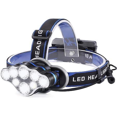 Linterna Frontal Led Recargable, 18000 Lúmenes Linterna Cabeza con 8 Modos y Luz Roja de Advertencia, Linterna de Cabeza para Camping, Bicicleta, ...