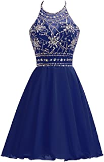 Belle House Chiffon Homecoming Dresses for Juniors Halter Prom Party Ball Gowns