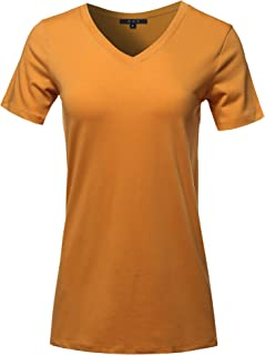 d5a4ccdc0c9f02 FREE Shipping on eligible orders. Women's Basic Solid Premium Cotton Short  Sleeve V-Neck T Shirt Tee Tops (S