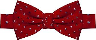Gravata borboleta vermelha, com quadrados azul escuro, azul claro e branco