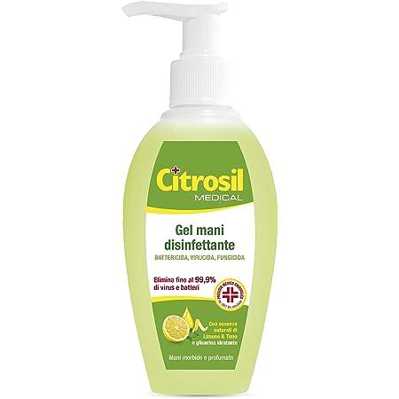 CITROSIL - Gel di Alcool Disinfettante per Mani, Igienizzante Gusto Limone e Timo, per Mani Morbide e Profumate con Proprietà Antibatteriche - Flacone da 280 ml