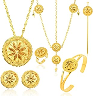 18K Gold Plated Ethiopian Hair Accessories Jewelry Sets Ethiopia Eritrean Women gift