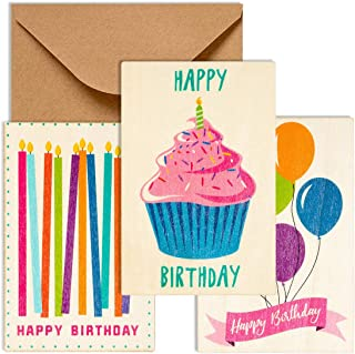 Sustainable Greetings 12-Pack Wooden Happy Birthday Cards, 3 Colorful Designs, Envelopes Included, 3 x 5 Inches