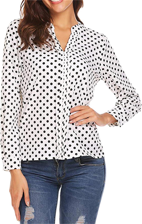 Andongnywell Womens Button Down Long Sleeve V Neck Polka Dot Printed Elegant T-Shirts Casual Summer Blouse