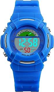 VDSOW - Orologi digitali per bambini, per sport all'aperto, impermeabile fino a 5 atm, con LED blu, con sveglia/luce EL/gi...