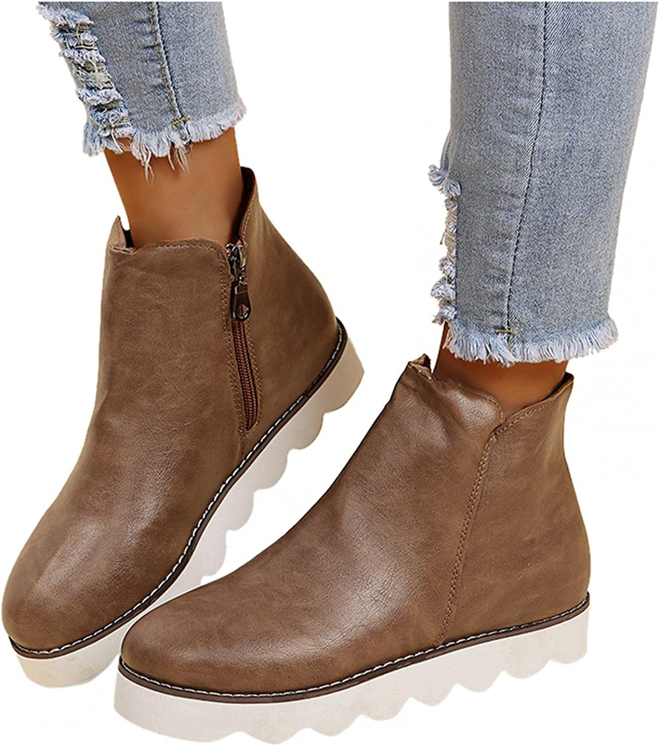 Niceast Boots for Women, Leopard Casual Slip On Flat Boots Breathable Autumn Outdoor Cowboy Lightweight Boots