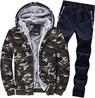 Iuhan Men Hooded Coat Winter Hoodie Warm Multicolor Camouflage Pattern Thicken Zipper Fur Inside Long Sleeve Sweater Outwe...