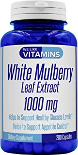 White Mulberry 1000mg – 200 Capsules (Non GMO & Gluten Free) – White Mulberry Supplement – Helps to Support Blood Sugar and Cholesterol Levels