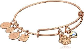Alex and Ani Women's Paw Print Duo Charm Bracelet, Shiny Rose Gold