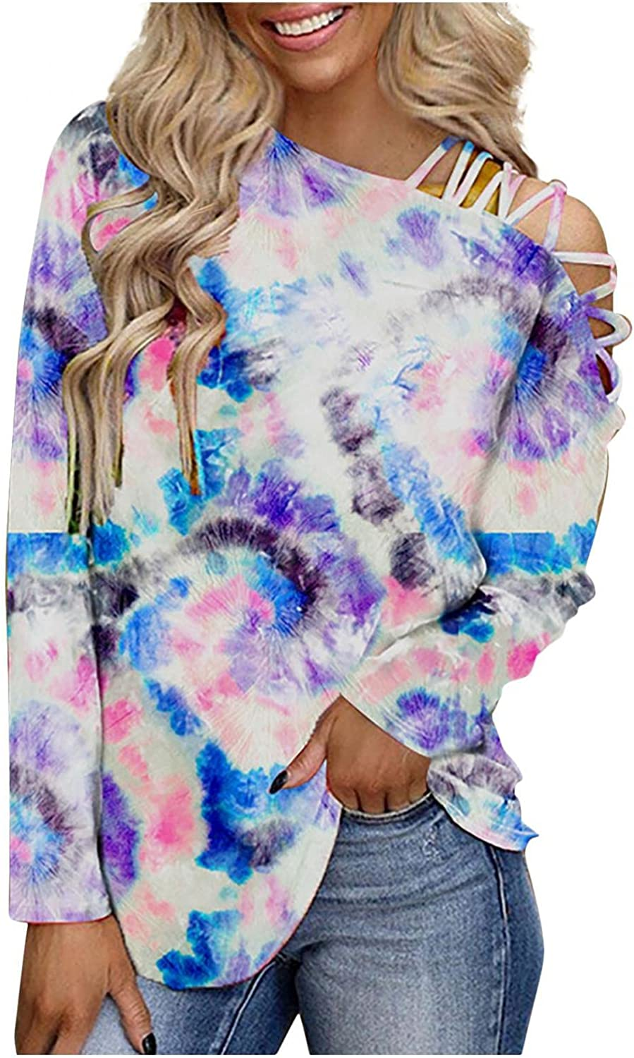 Afelkas Womens Shirts Tie-Dye Print Irregular Collar Active Blouse Trendy Shoulder Strappy Hollow Out Sexy Sweatshirt