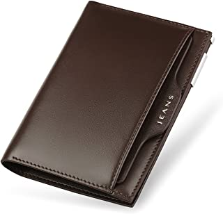 Men Wallets Genuine Leather Short Slim Money Clips Bifold Front Pocket Purse Small Credit Card Holder with ID Window WILLI...