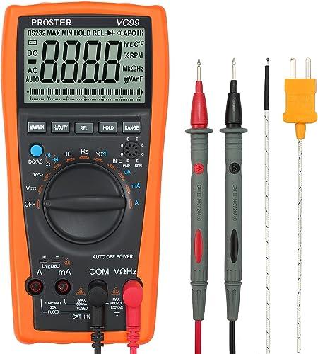 Proster Auto-Ranging Digital Multimeter 6000 Counts and 2000uF Digital Multimeters Meter Amp Ohm Volt Meter Multi Tes...
