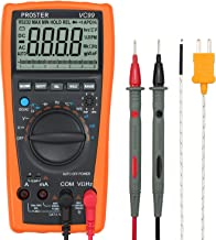 Proster Auto-Ranging Digital Multimeter 6000 Counts and 2000uF Digital Multimeters Meter Amp Ohm Volt Meter Multi Tester with Capacitance Test and Temperature Measurement