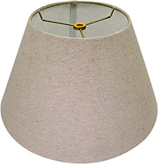 Medium Lamp Shade,Alucset Barrel Fabric Lampshade for Table Lamp and Floor Light,7x13x7.8 inch,Natural Linen Hand Crafted,Spider (Brown)