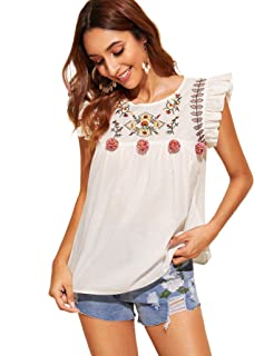 Floerns Women's Floral Embroidered Ruffle Babydoll Peplum Tops Blouse