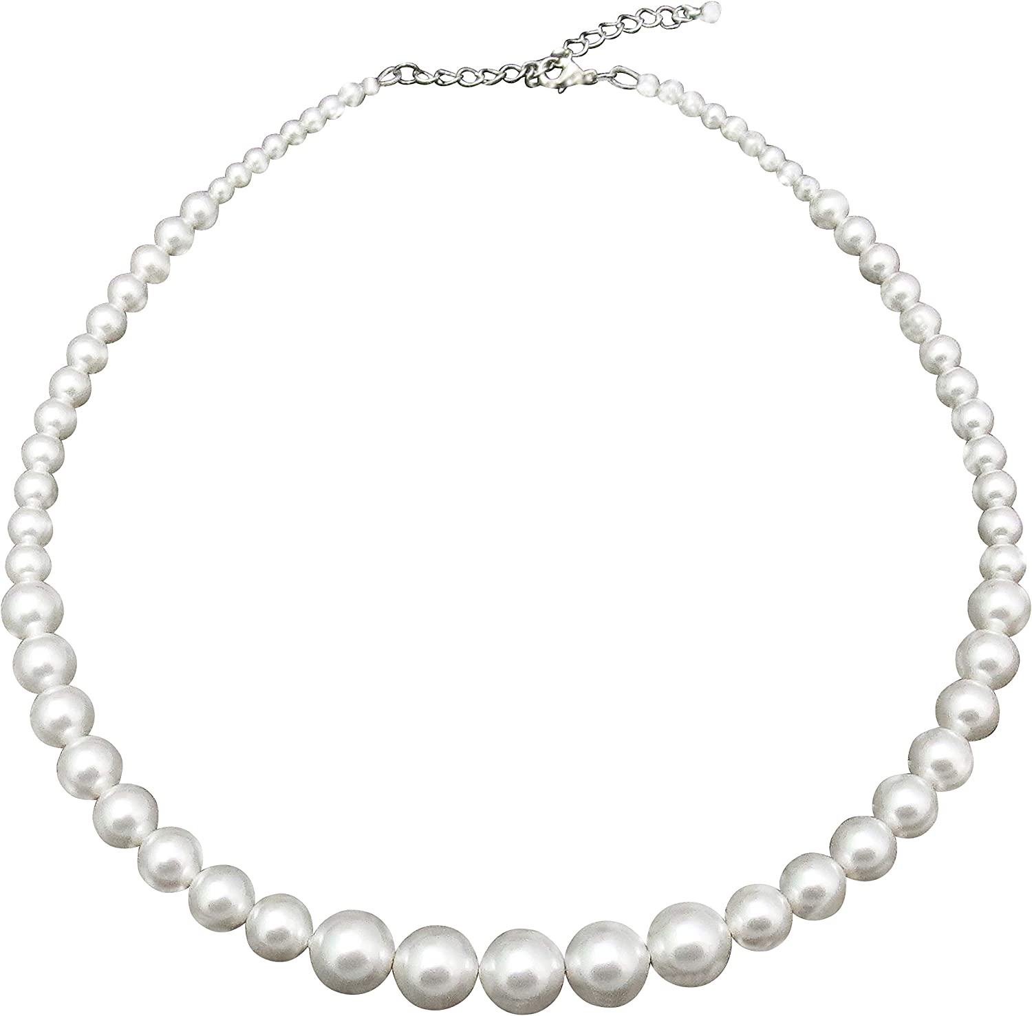 Trimic Graduated Pearl Strand Necklace, White Swarovski Simulated Pearls, Gradual 3mm-10mm Round Pearl Jewelry for Women