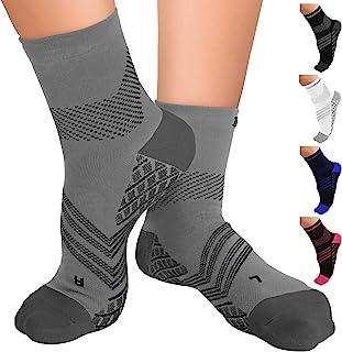 TechWare Pro Plantar Fasciitis Socks – Therapy Grade Cushion Ankle Compression Socks Women & for Men. Nano Socks Ankle Bra...