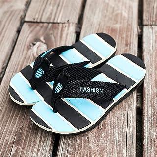 Fashion Slippers for Men Flip-Flops Casual Slip On Mesh Material Color Matching Lightweight Men's Boots (Color : Black Blue, Size : 6.5 UK)