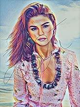 Selena Gomez Drawing Print Poster Hand Drawn Coloured Pencil #GOMEZ5