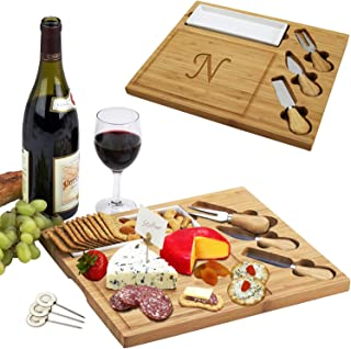 Picnic at Ascot Personalized Monogrammed Engraved Bamboo Cutting Board for Cheese & Charcuterie Platter- includes Knives, Ceramic Dish, Cheese Markers - Designed and Quality Checked in USA
