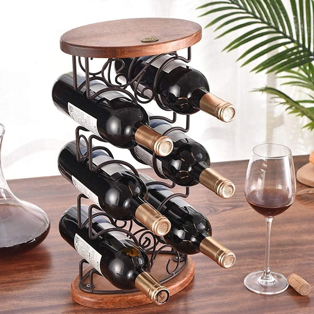Titular del Vino Decoración del hogar Rama DE Vino DE Madera DE LA Base DE Hierro 6 Se Puede Colocar en la decoración de la Botella de Vino de Mesa