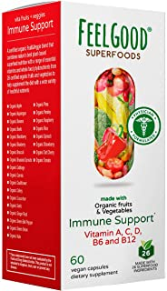 Immune Support Capsules (60 Count) | 26 Organic Fruits And Veggies | Vitamins A, C, D3, B6 & B12 | Gluten Free, Non-GMO & ...
