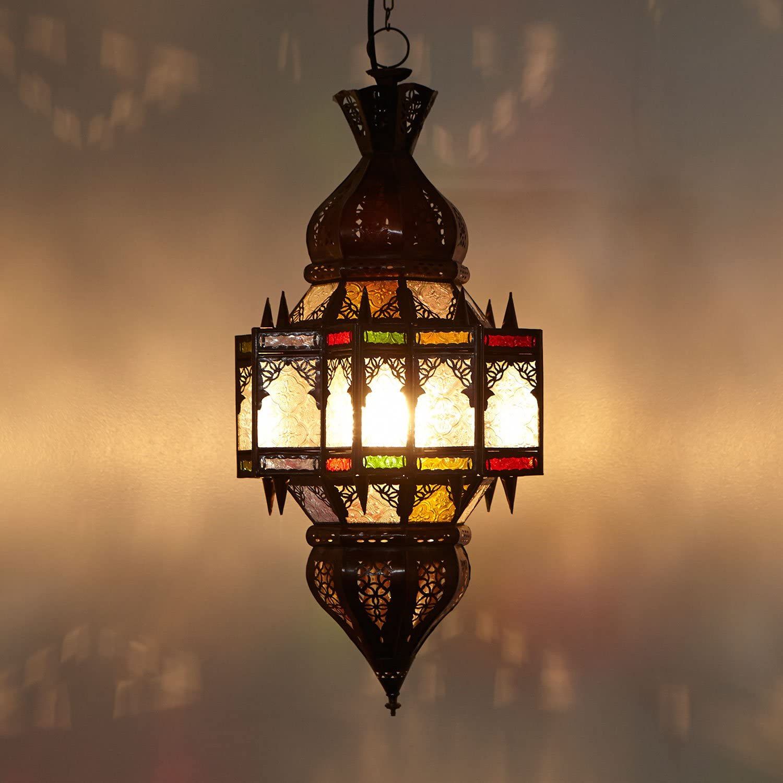 Orientalische Lampe marokkanische Hngelampe Quds H 60  30 cm aus Metall & Milchglas  Kunsthandwerk aus Marrakesch  Prachtvolle Pendelleuchte wie aus 1001 Nacht  L1240