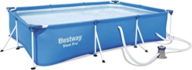 Bestway 56412E Steel Pro 9.8ft x 6.6ft x 26in Outdoor Rectangular Frame Above Ground Swimming Pool Set with 330 GPH Filter Pu