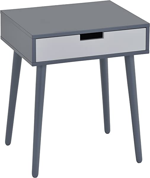 Kings Brand Grey White Finish Wood Side End Table Night Stand With Drawer