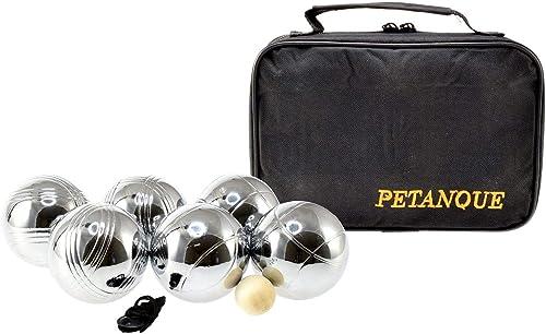 Sacoche de 6 boules de petanques chromees - jeu d'adresse - plein air