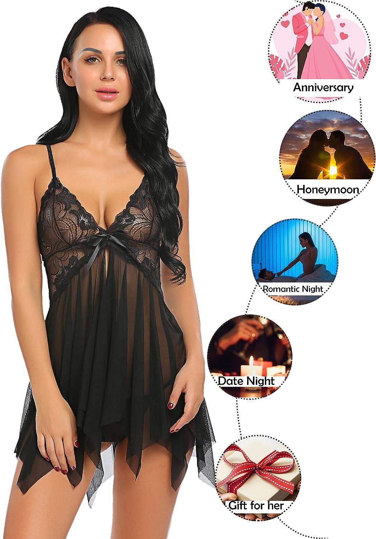 Avidlove Lingerie for Women Lace Babydoll Sleepwear Boudoir Outfits Plus Size Langeray S-5XL
