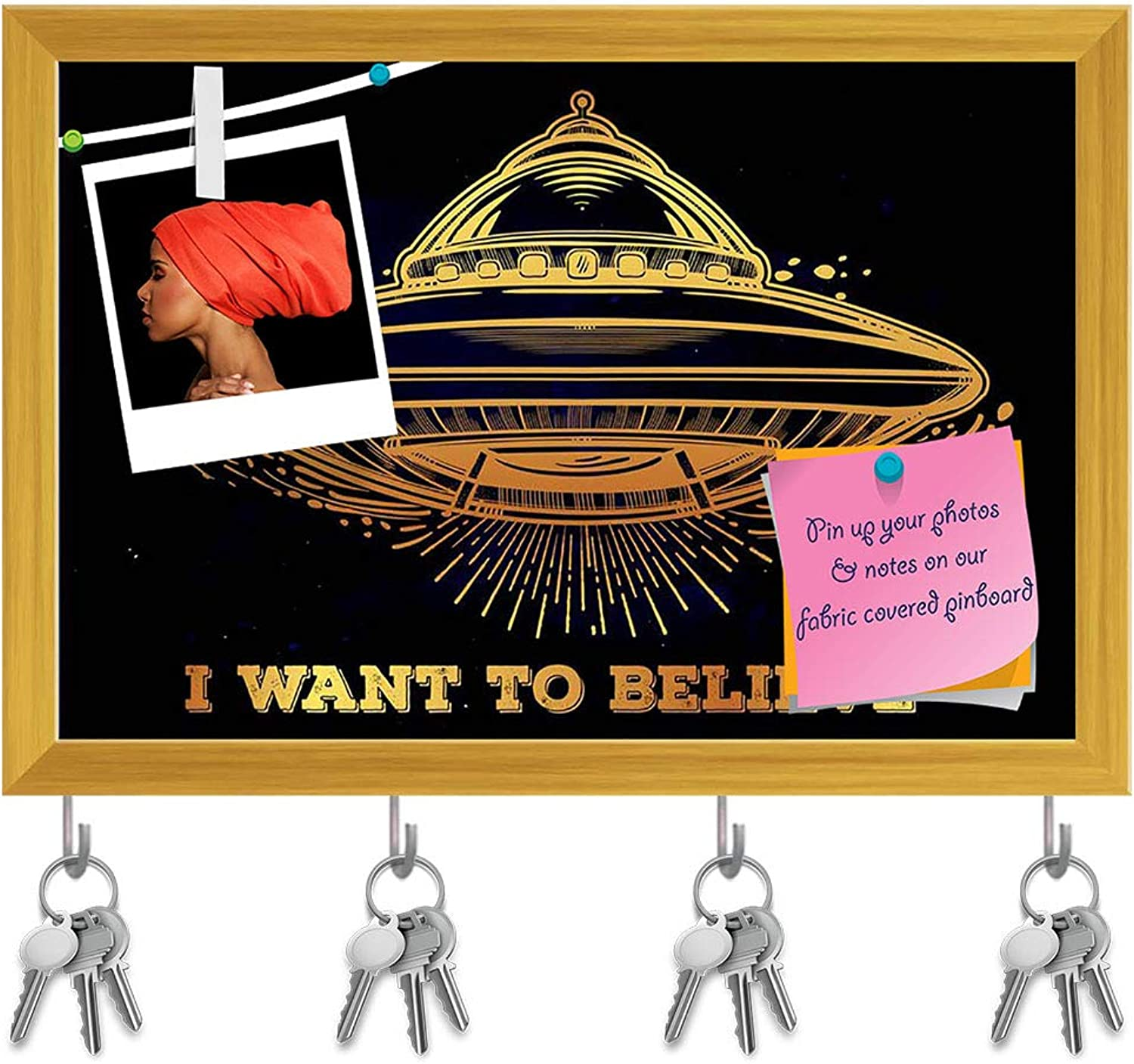 Artzfolio Alien Spaceship D3 Key Holder Hooks   Notice Pin Board   golden Frame 8.5 X 6Inch